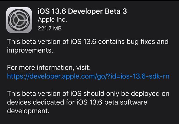 苹果推送iOS 13.6 Beta 3版本 新功能CarKey有望加入