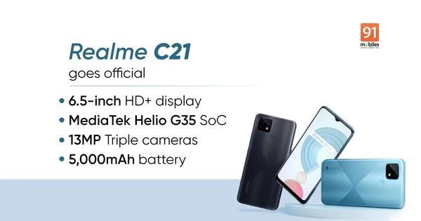 realme C21在马来西亚发布使用联发科太阳神G35芯片